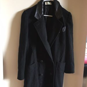 Jackets & Blazers - Long size coat 100% wool + real leather details